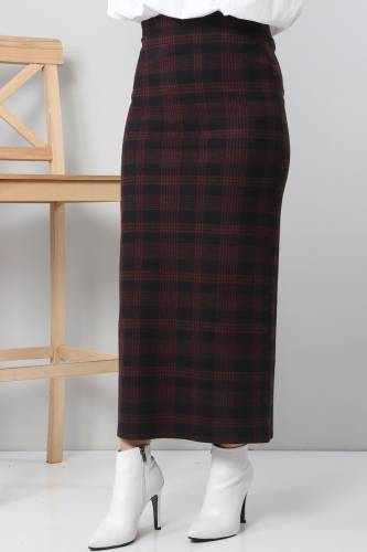 Tesettür Dünyası - TSD3249 Red Patterned Winter Slim Skirt (1)