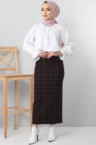 TSD3249 Red Patterned Winter Slim Skirt - Thumbnail