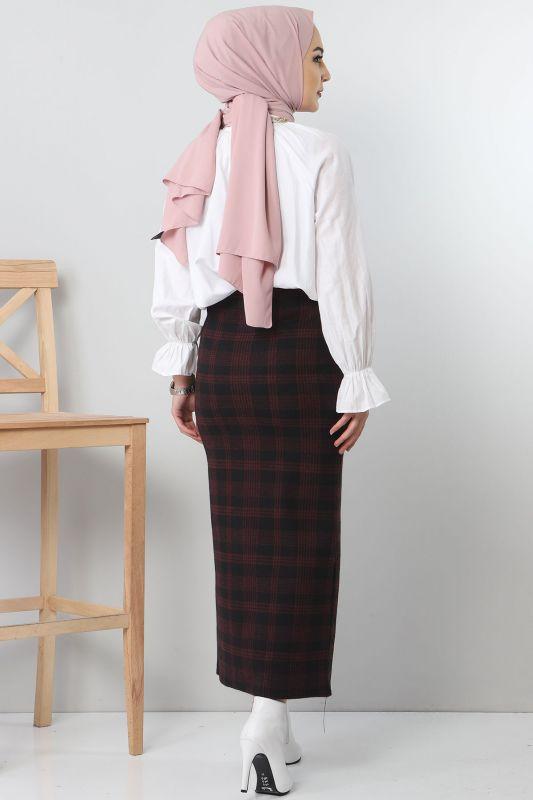 TSD3249 Red Patterned Winter Slim Skirt