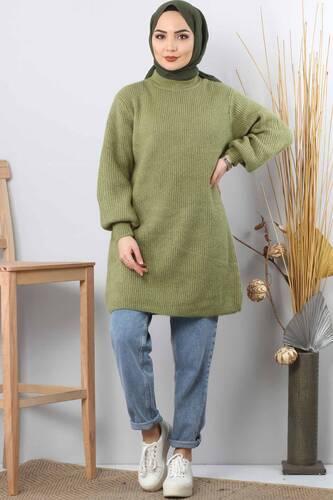 سترة تريكو بأكمام بالون TSD3647 أخضر زيتوني - Thumbnail