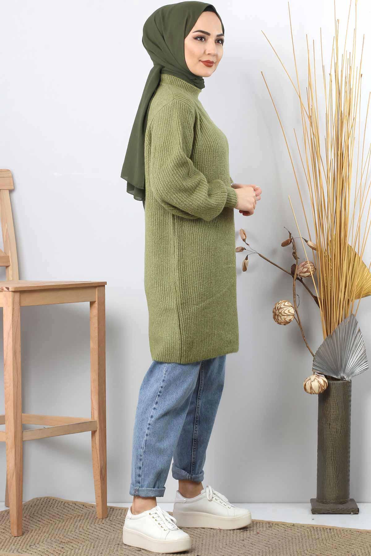 سترة تريكو بأكمام بالون TSD3647 أخضر زيتوني
