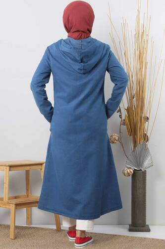 سترة جينز بازرار TSD4163 أزرق داكن - Thumbnail