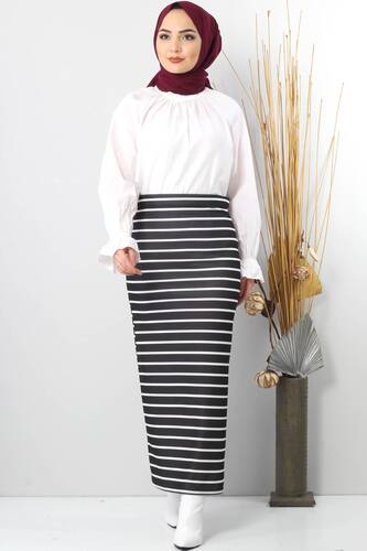 Tesettür Dünyası - TSD4412 Black Striped Pencil Skirt