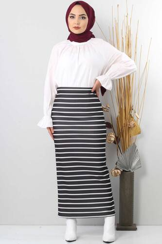 Tesettür Dünyası - TSD4412 Black Striped Pencil Skirt (1)