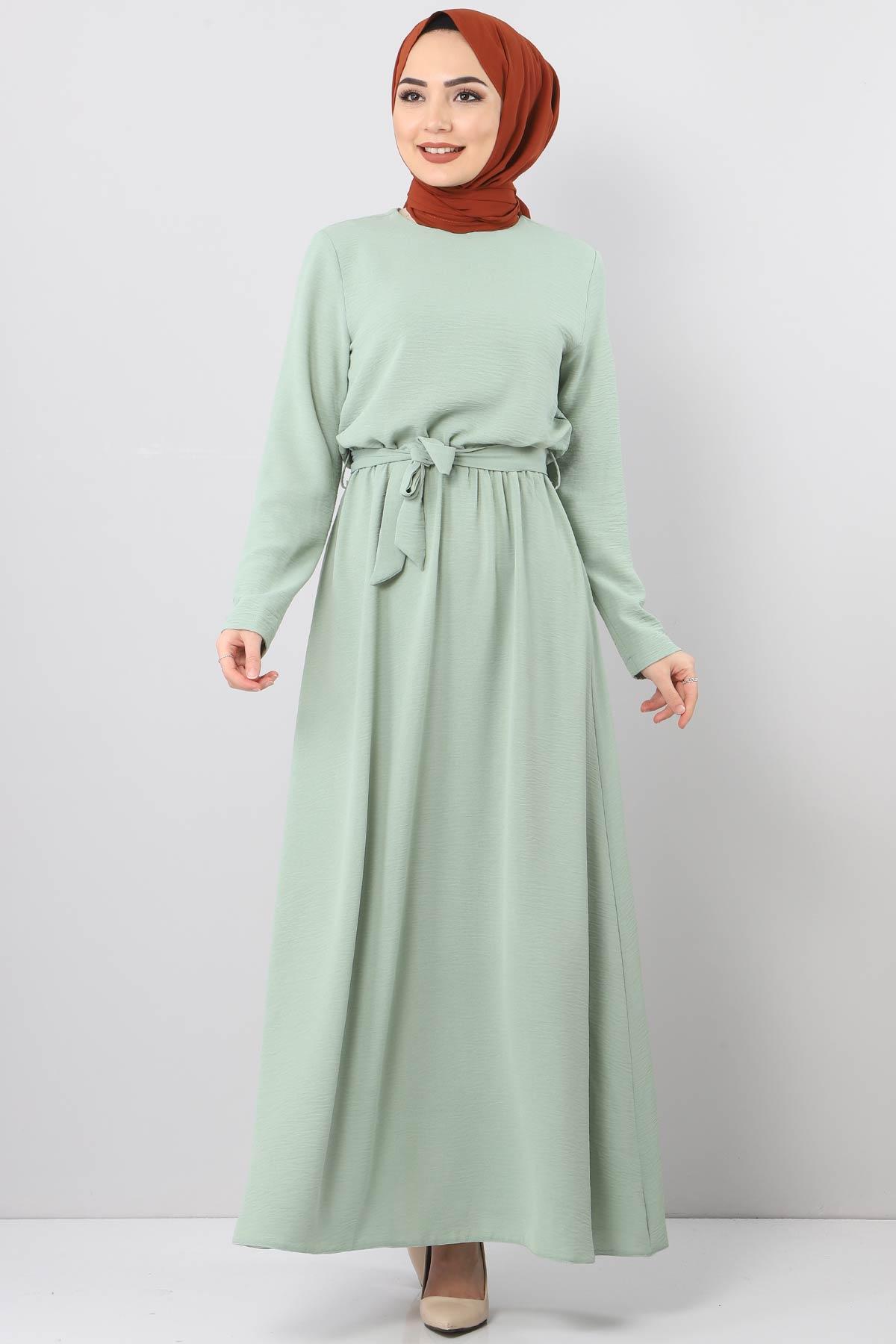 فستان ايروبين بخصر مطاطي TSD5521 لون اخضر فاتح