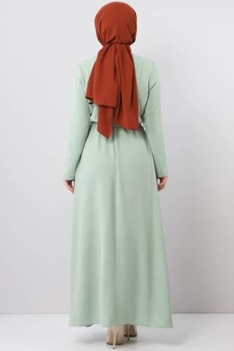 فستان ايروبين بخصر مطاطي TSD5521 لون اخضر فاتح - Thumbnail