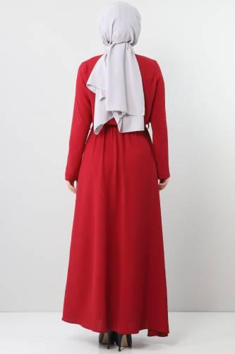 فستان ايروبين بخصر مطاطي TSD5521 لون خمري - Thumbnail