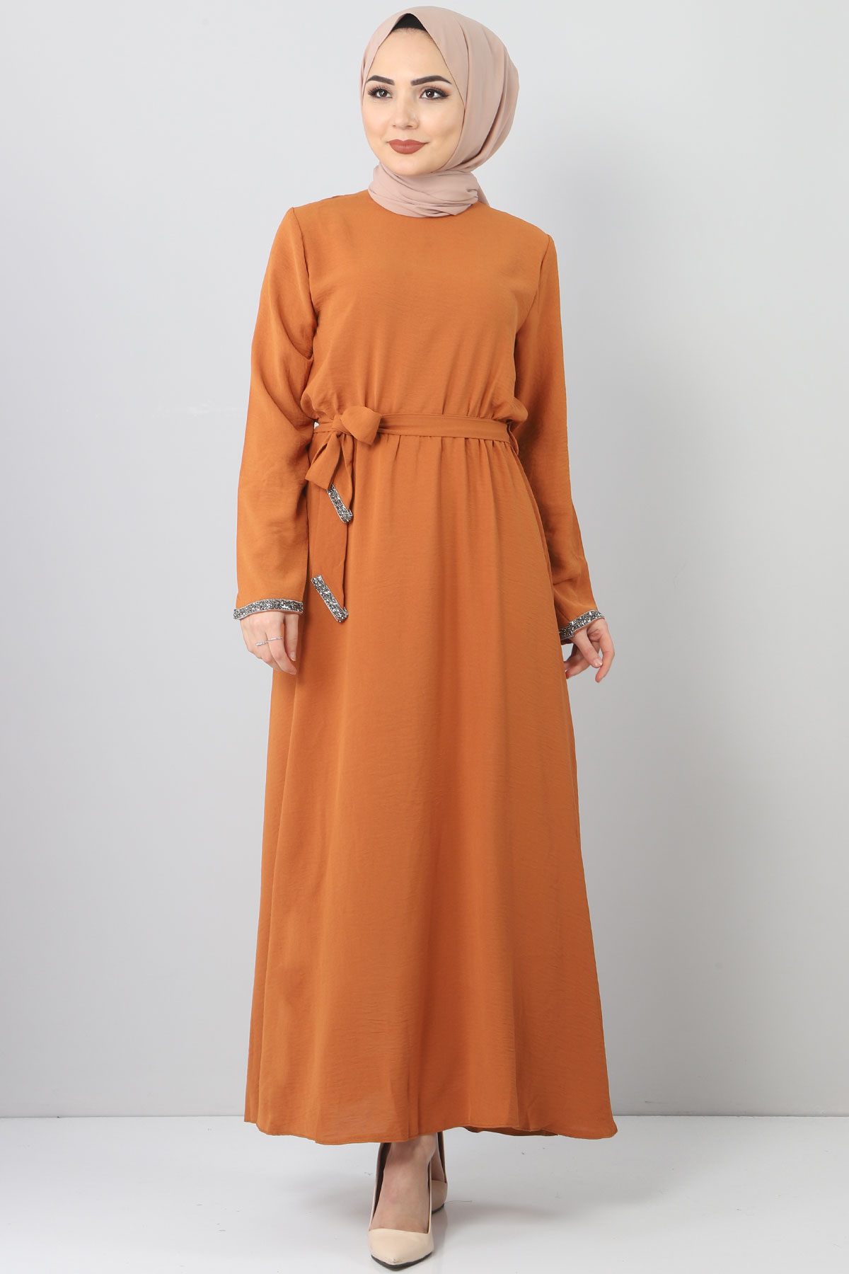 فستان مطرز بأحجار TSD6555 بني