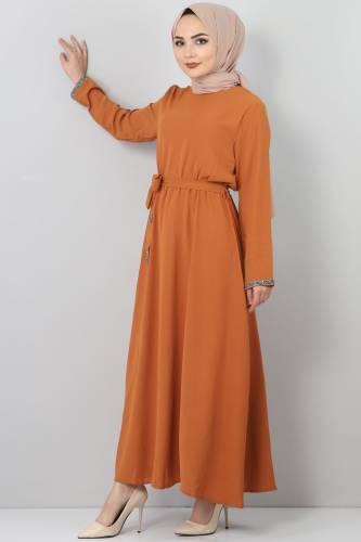 فستان مطرز بأحجار TSD6555 بني - Thumbnail