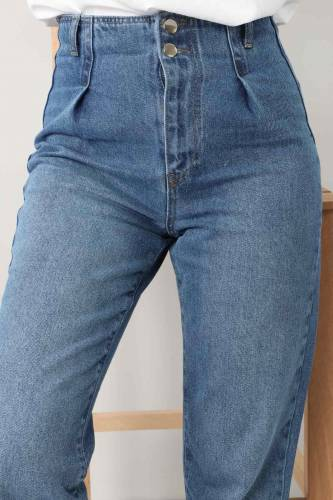 Tesettür Dünyası - بنطلون جينز بطيات TSD8397 أزرق فاتح (1)