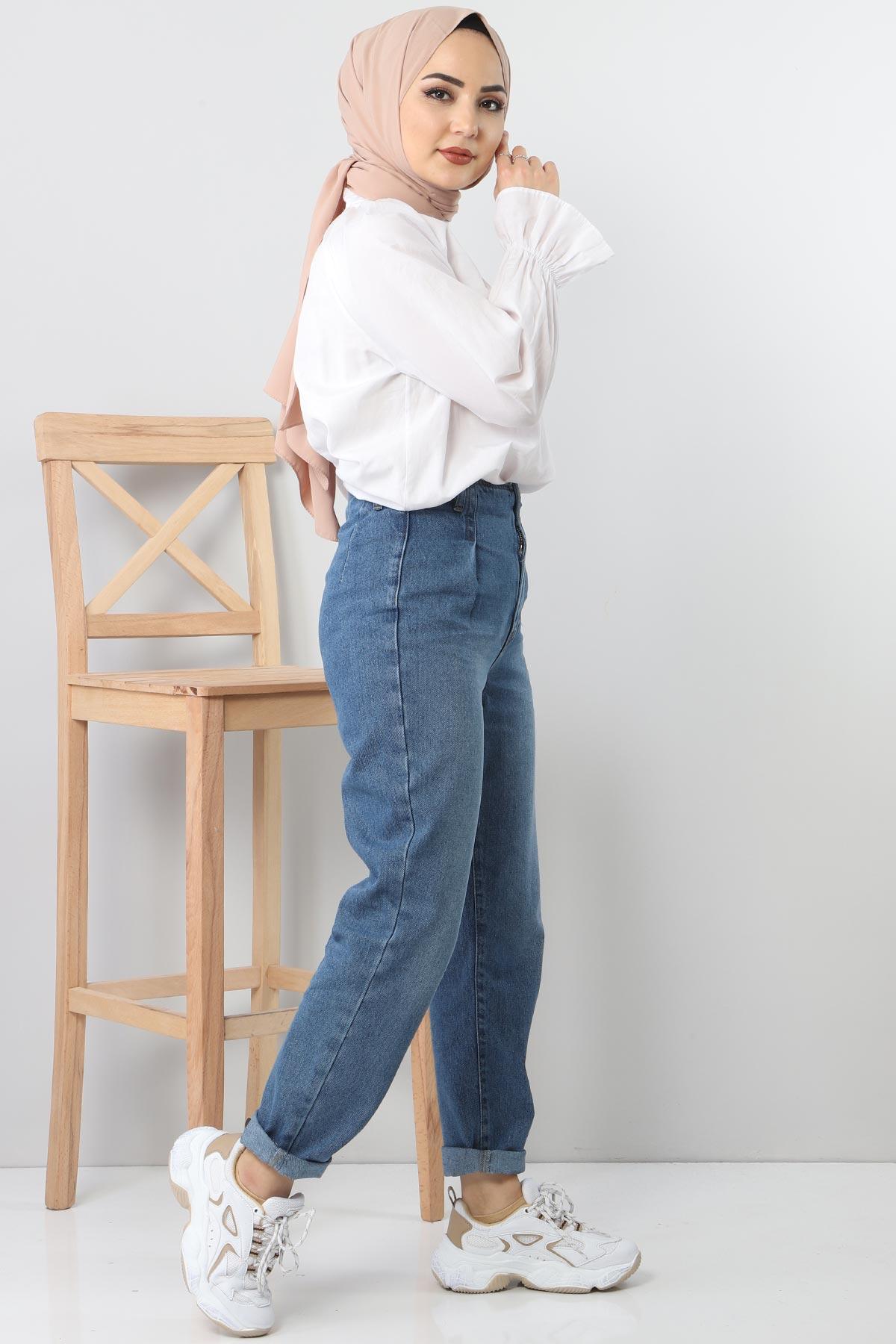 بنطلون جينز بطيات TSD8397 أزرق فاتح