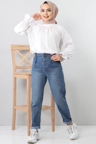 بنطلون جينز بطيات TSD8397 أزرق فاتح - Thumbnail