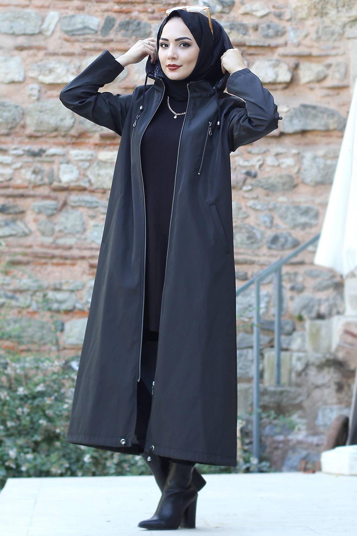 معطف ترنش بزخرفة سحاب للزينة TSD8876 أسود