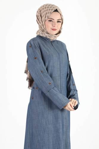 معطف كبير الحجم بأكمام بأزرار TSD8889 أزرق داكن - Thumbnail