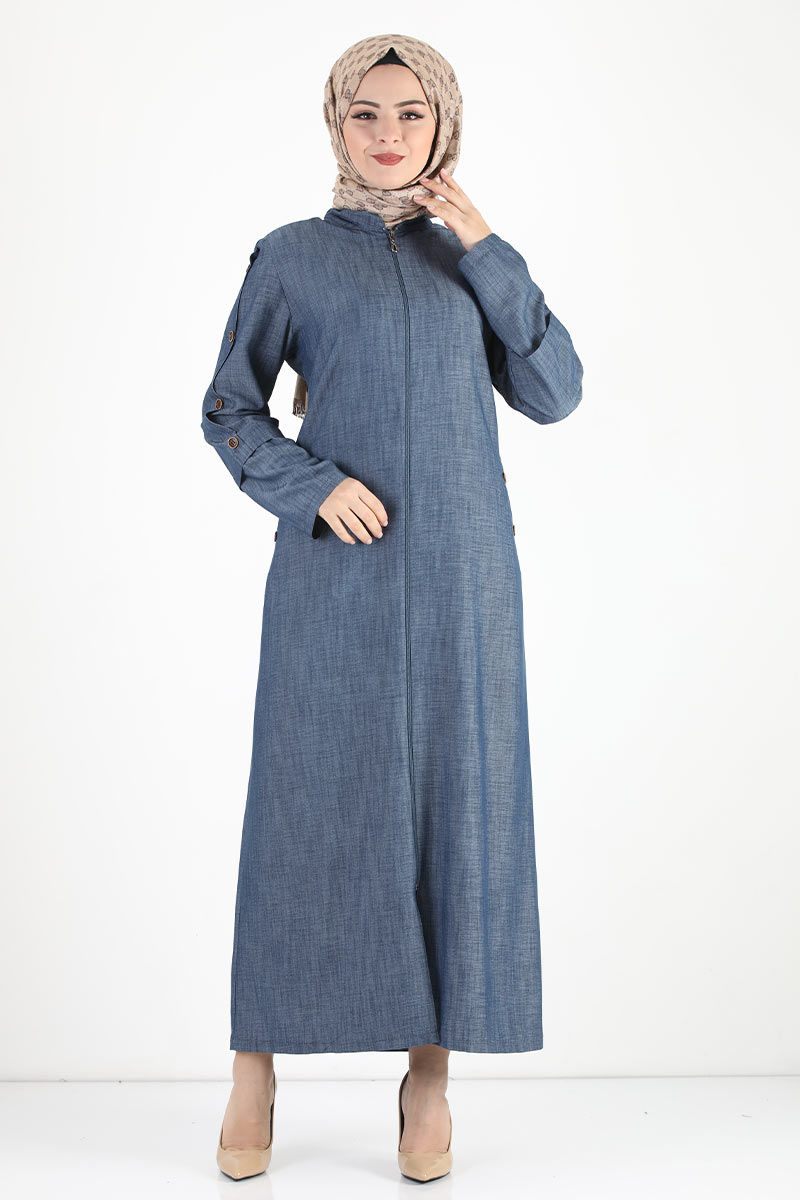 معطف كبير الحجم بأكمام بأزرار TSD8889 أزرق داكن