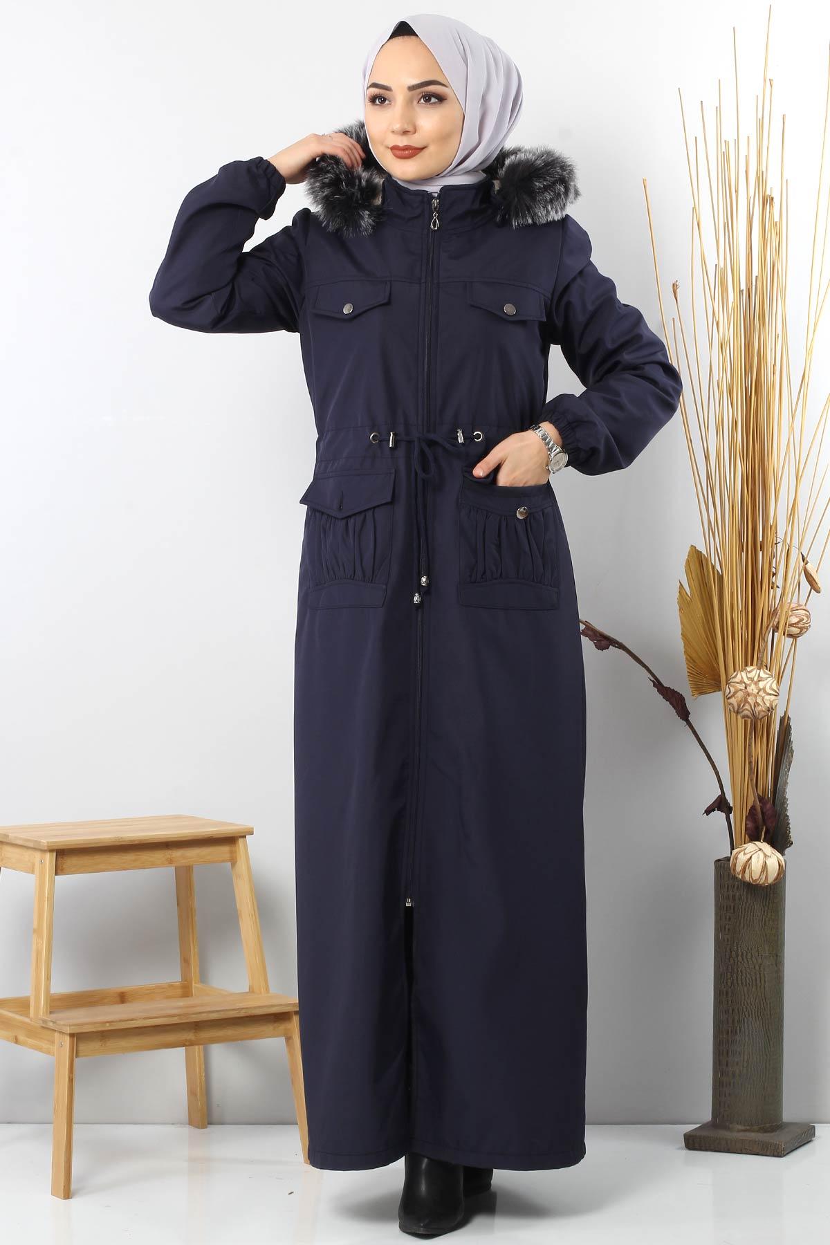معطف طول كامل يحتوي جيوب TSD8907 نيـــلــي.