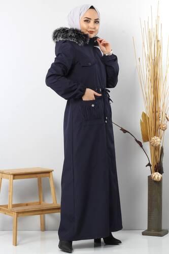 معطف طول كامل يحتوي جيوب TSD8907 نيـــلــي. - Thumbnail