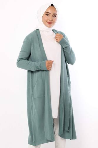 فستان طويل بياقة شال TSD9300 بترولي - Thumbnail