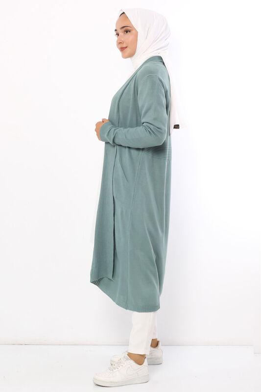 فستان طويل بياقة شال TSD9300 بترولي