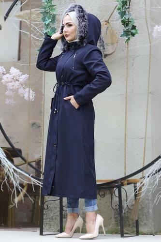معطف فروي برباط على الخصر TSD9901 أزرق كحلي - Thumbnail
