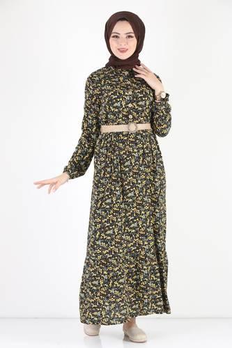 Tesettür Dünyası - فستان مورد مقاس كبير TSD9910 أصفر