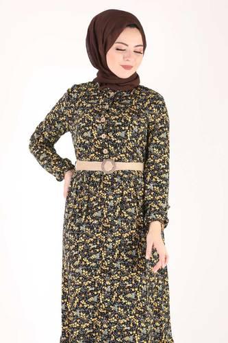 Tesettür Dünyası - فستان مورد مقاس كبير TSD9910 أصفر (1)