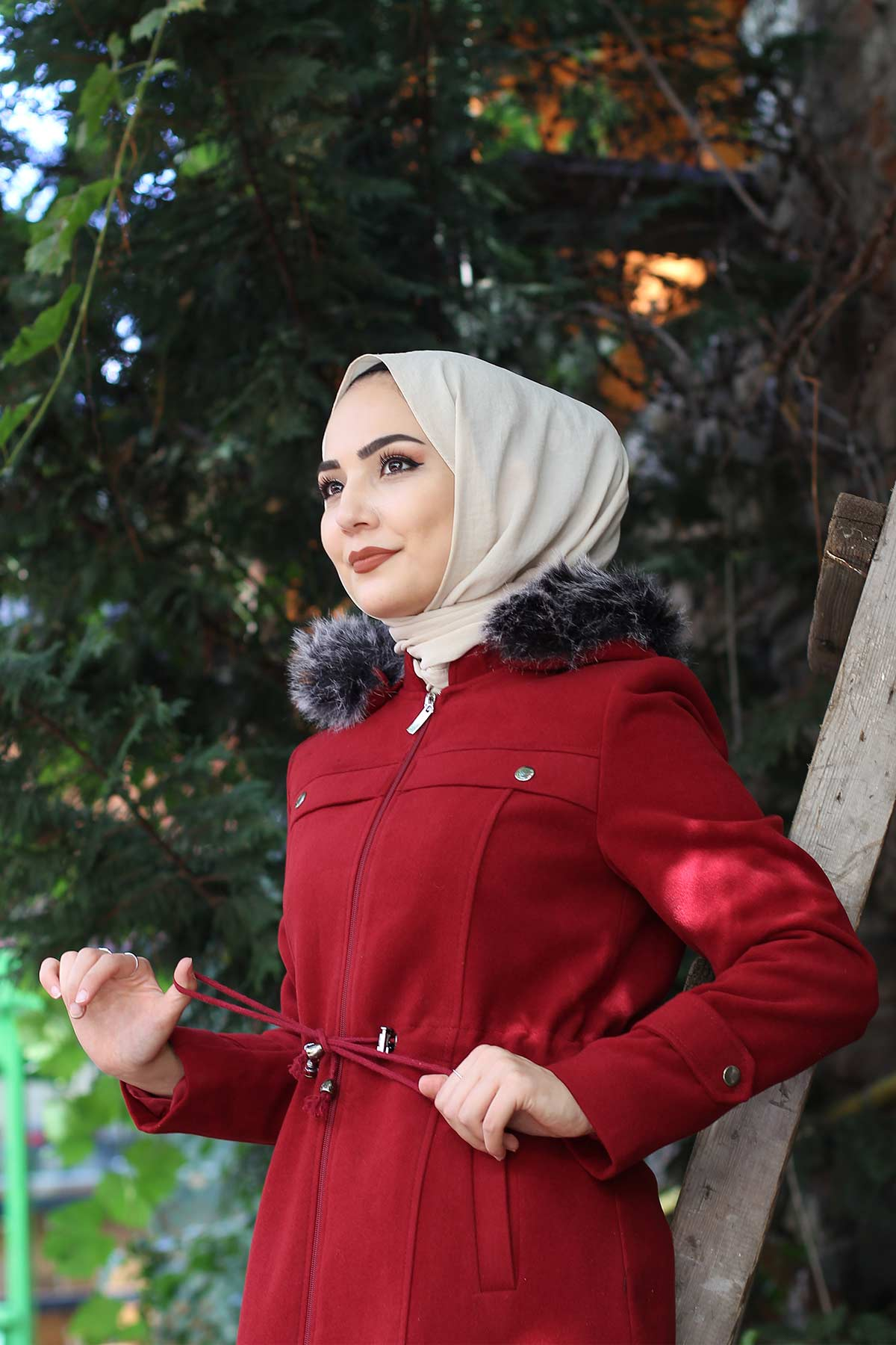 معطف صوف برباط على الخصر TSD9926 أحمر
