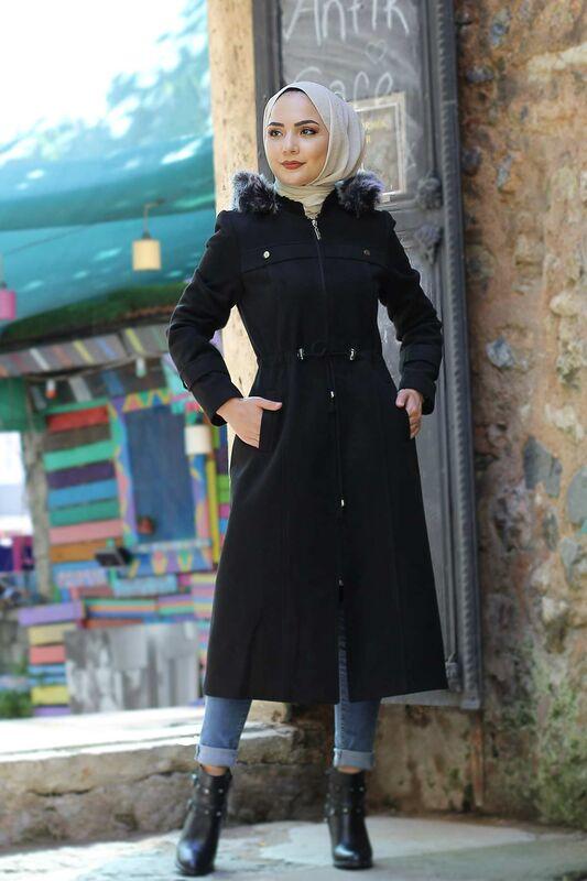 معطف صوف برباط على الخصر TSD9926 أسود