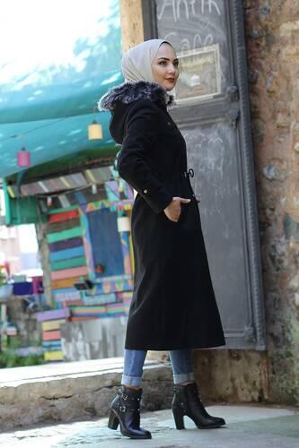 معطف صوف برباط على الخصر TSD9926 أسود - Thumbnail