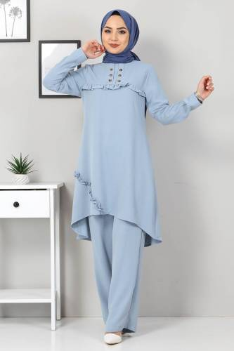 Tuniği Fırfır Detaylı İkili Takım TSD2103 Açık Mavi - Thumbnail