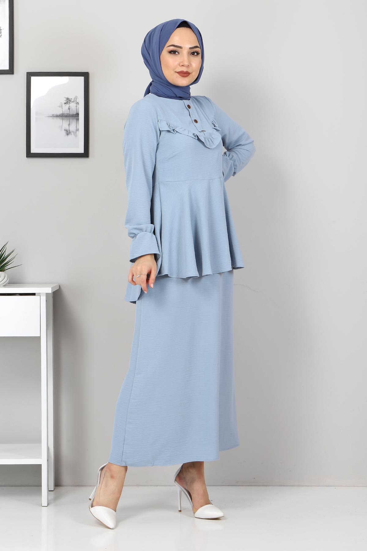Tuniği Volanlı İkili Takım TSD2100 Açık Mavi