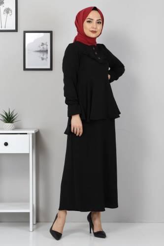 Tuniği Volanlı İkili Takım TSD2100 Siyah - Thumbnail