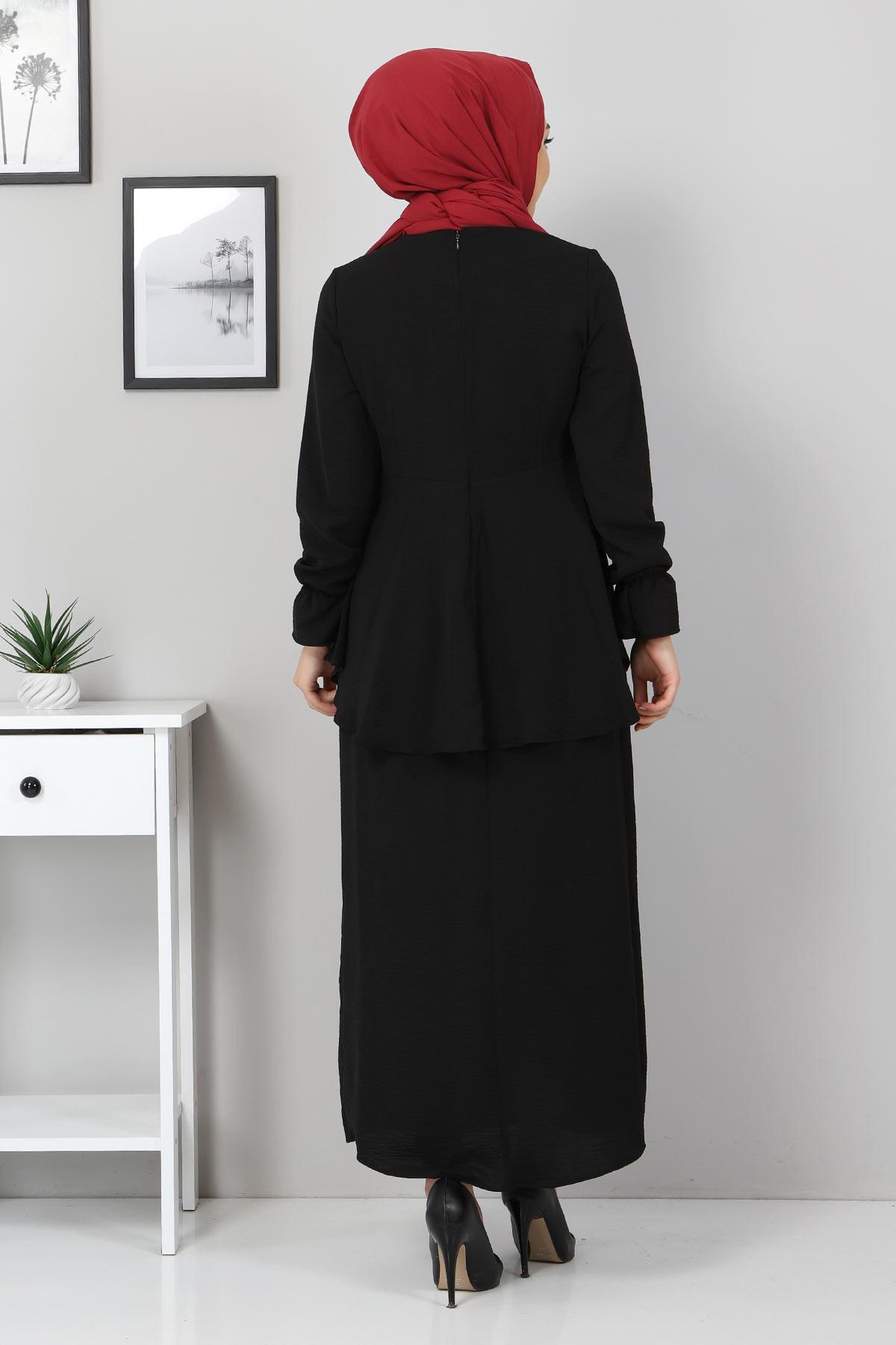 Tuniği Volanlı İkili Takım TSD2100 Siyah