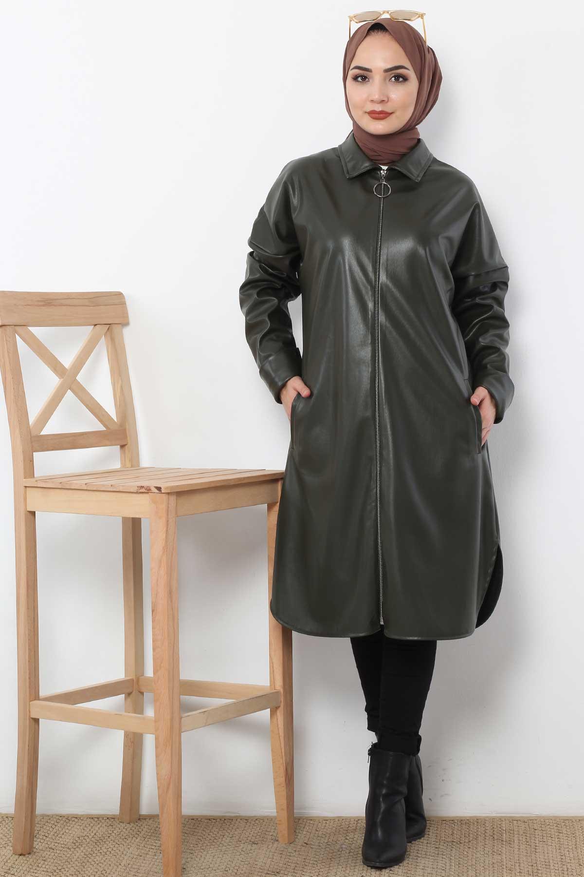 Uzun Deri Ceket TSD4151 Haki