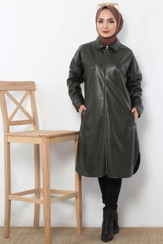 Uzun Deri Ceket TSD4151 Haki - Thumbnail