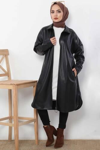 Tesettür Dünyası - Uzun Deri Ceket TSD4151 Siyah