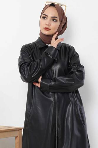 Tesettür Dünyası - Uzun Deri Ceket TSD4151 Siyah (1)