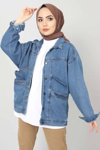 Tesettür Dünyası - Vintage Kot Ceket TSD1723 Mavi
