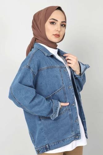 Tesettür Dünyası - Vintage Kot Ceket TSD1723 Mavi (1)