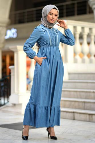 Tesettür Dünyası - Volanlı Kot Elbise TSD4077 Açık