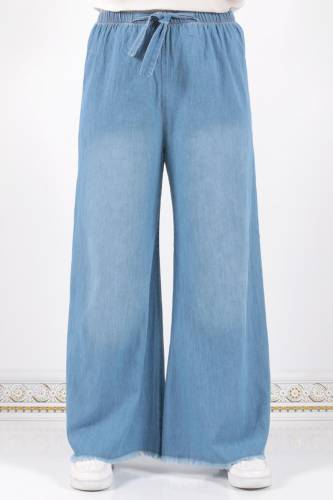 Tesettür Dünyası - Waist Elastic Wide Leg Trousers ASM028 Light Jeans