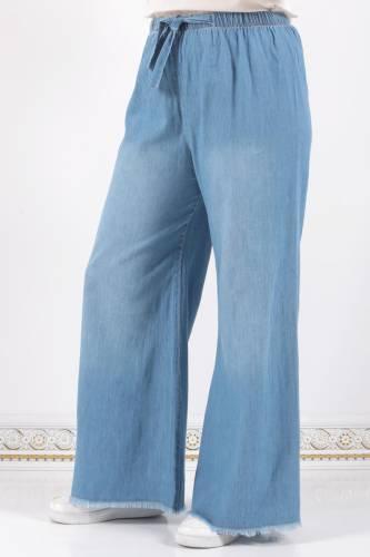 Tesettür Dünyası - Waist Elastic Wide Leg Trousers ASM028 Light Jeans (1)