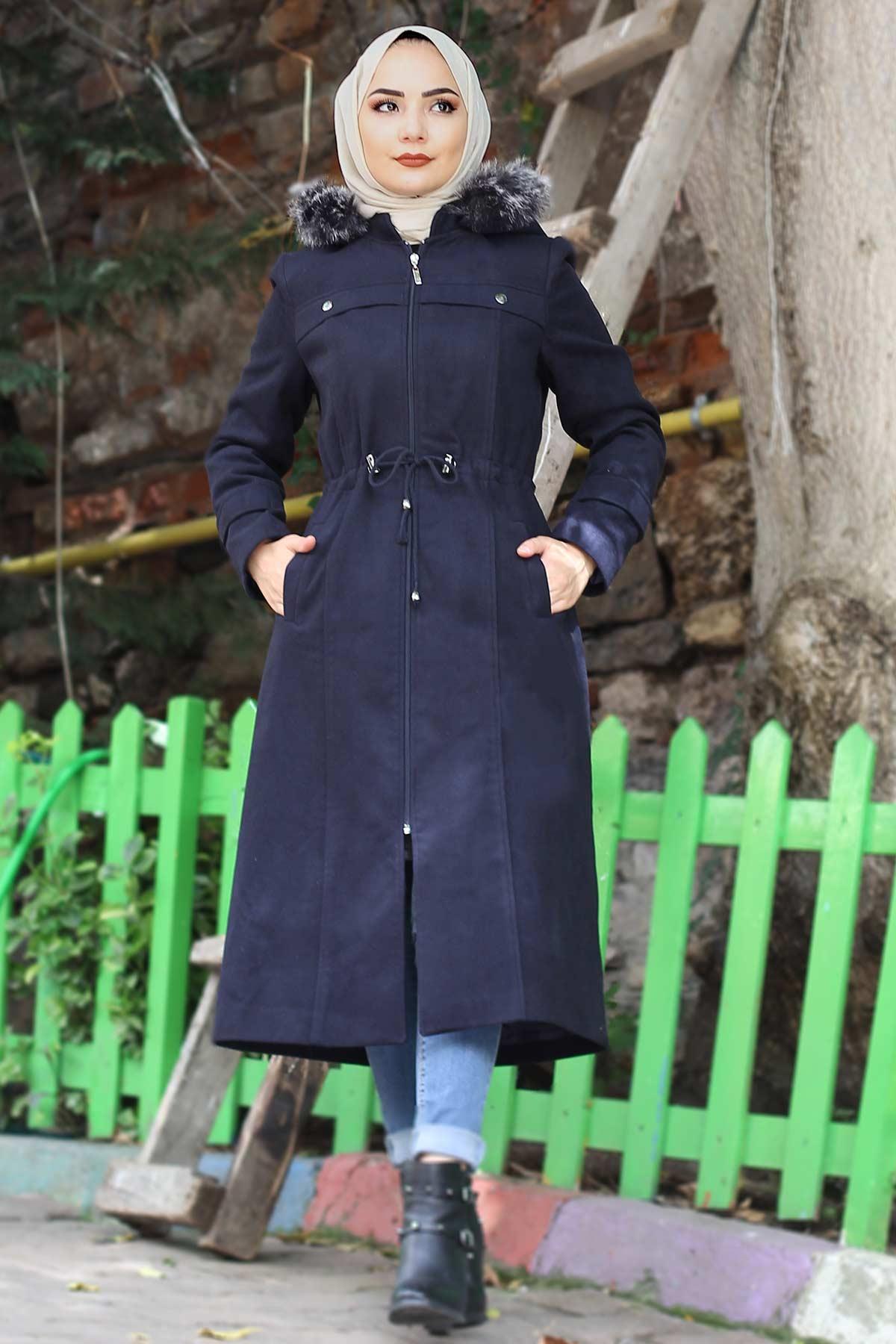 Waist Laced Cachet Coat TSD9926 Navy Blue
