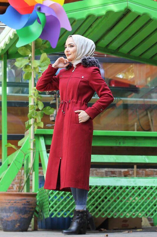 Waist Laced Cachet Coat TSD9926 Red