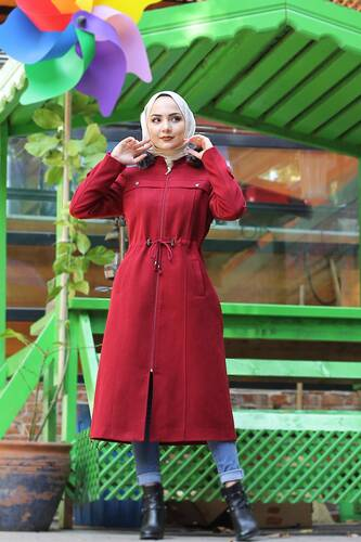 Waist Laced Cachet Coat TSD9926 Red - Thumbnail