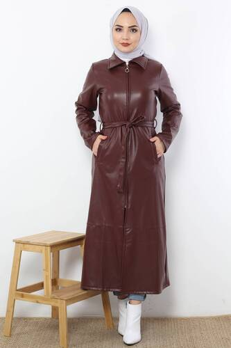 Waist Laced Leather Cape TSD1458 Claret Red - Thumbnail