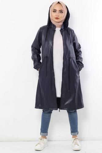Waist Laced Leather Cape TSD2110 Navy Blue - Thumbnail