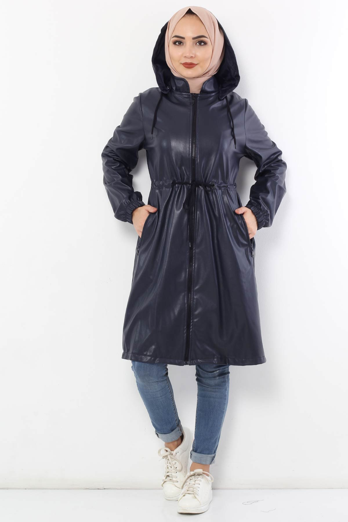 Waist Laced Leather Cape TSD2110 Navy Blue