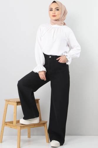 Wide Leg Jeans TSD22007 Black - Thumbnail
