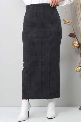 Tesettür Dünyası - Winter Plaid Pencil Skirt TSD0412 BLACK (1)